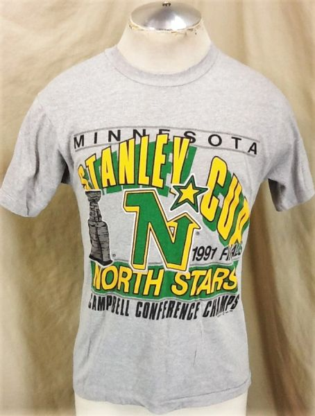 Vintage 1991 Minnesota North Stars Hockey (Med) Retro NHL Stanley Cup Playoffs Graphic T-Shirt