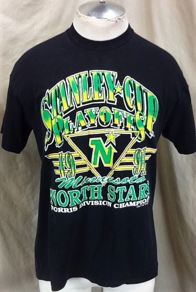 Vintage 1991 Minnesota North Stars (Large) Retro NHL Stanley Cup Playoffs Graphic T-Shirt