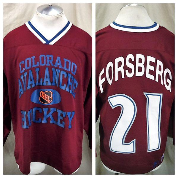 Vintage 90's Starter Peter Forsberg #21 (Med) Retro NHL Colorado Avalanche Hockey Jersey