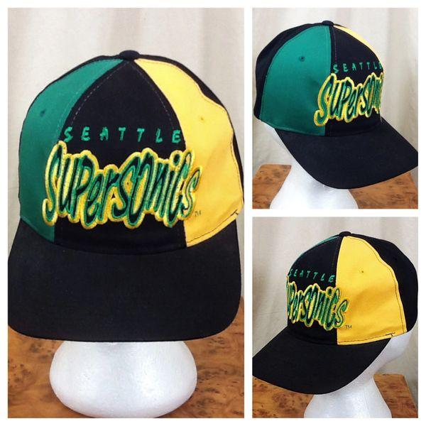 Vintage 90's Starter Seattle Supersonics Retro NBA Basketball Embroidered Snap Back Hat