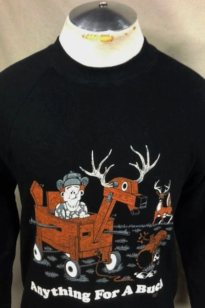 "Vintage 1987 Hunting ""Anything For A Buck"" (Medium) Retro Crew Neck Graphic Sweatshirt"