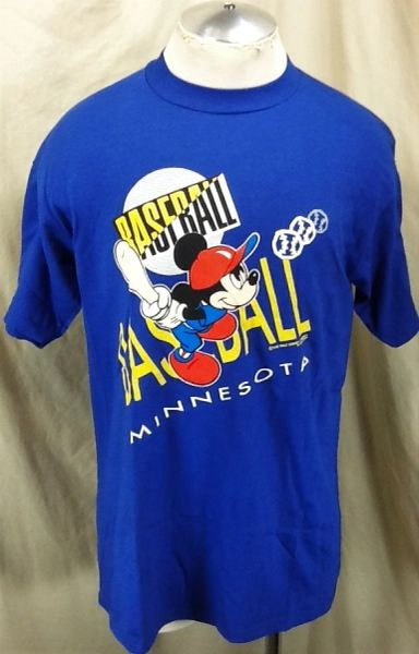 "Vintage 90's Velva Sheen Mickey Mouse ""Baseball"" (Large) Retro Minnesota Graphic Cartoon T-Shirt"