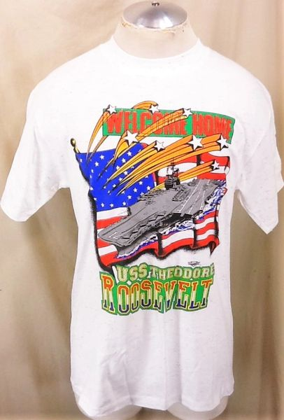 "Vintage Armed Forces ""Welcome Back USS Theodore Roosevelt"" (Medium) Graphic T-Shirt"