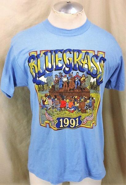 """Vintage Screen Stars 1991 Bluegrass Concert """"Volunteer"""" (Med/Large) Graphic T-Shirt"""