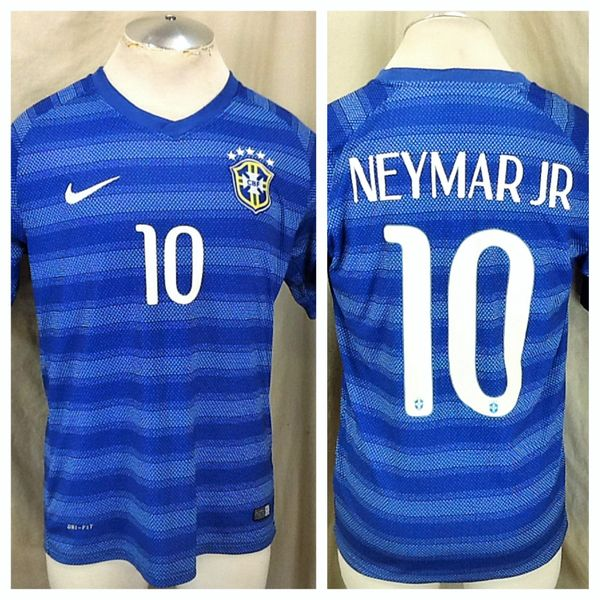 Authentic 2014 Nike Brazil Futbol Club (Med) Retro Neymar Jr #10 Dri-Fit Soccer Jersey