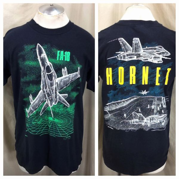 "Vintage 1990 FA-18 Blackbird Air Force ""Hornet"" (L/XL) Retro United States Armed Forces Graphic T-Shirt"