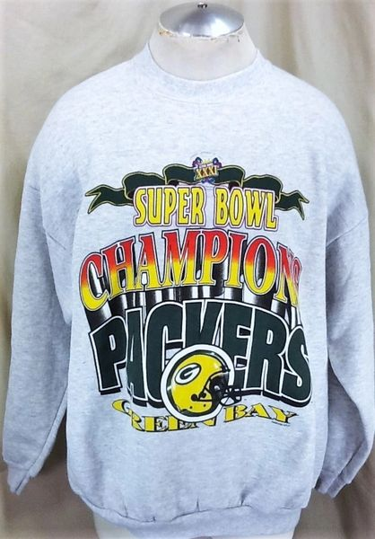 Vintage 1997 Green Bay Packers Super Bowl Champions (XL) Retro NFL Football Crew Neck Sweatshirt