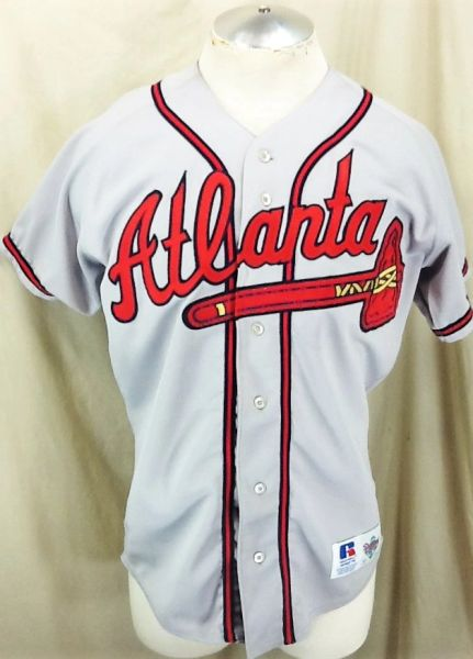 Vintage Russell Atlanta Braves Baseball (40/Med) Retro MLB Graphic Stitched Gray Jersey