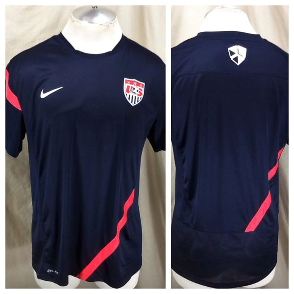 Authentic Nike Team USA Futbol (Large) Retro World Cup Soccer Dri-Fit Navy Blue Jersey
