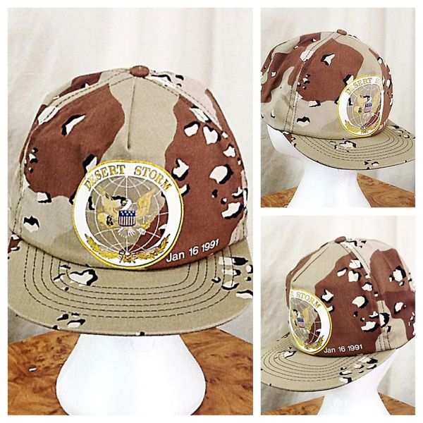 "Vintage 1991 ""Operation Desert Storm"" Retro Armed Forces Camo Snap Back Hat"