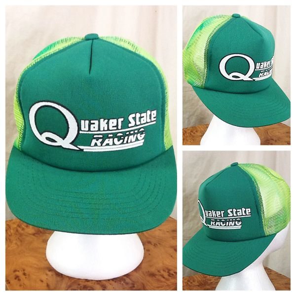 Vintage 80's Quaker State Racing Retro Gear Heads Snap Back Green Trucker Hat