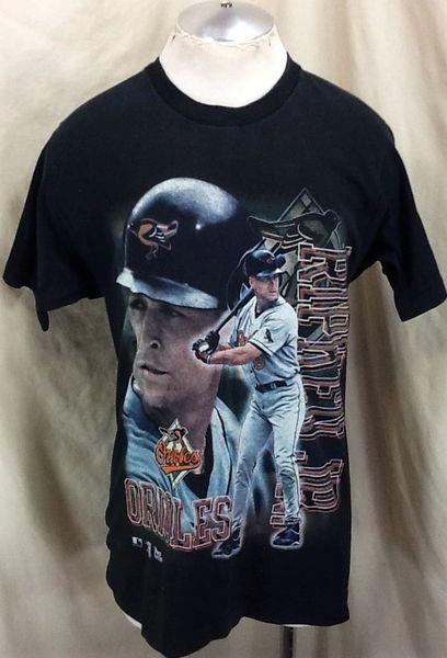 "Vintage 1997 Baltimore Orioles Cal Ripken Jr (Med) Retro MLB ""The Iron Man"" Graphic Black T-Shirt"