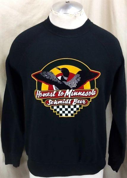 """Vintage Schmidt Beer """"Honest To Minnesota"""" (Medium) Retro Breweriana Graphic Crew Neck Sweatshirt"""