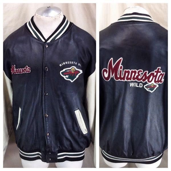 Roots Minnesota Wild Hockey Club (2XL) Retro NHL Snap Up Stitched Leather Jacket