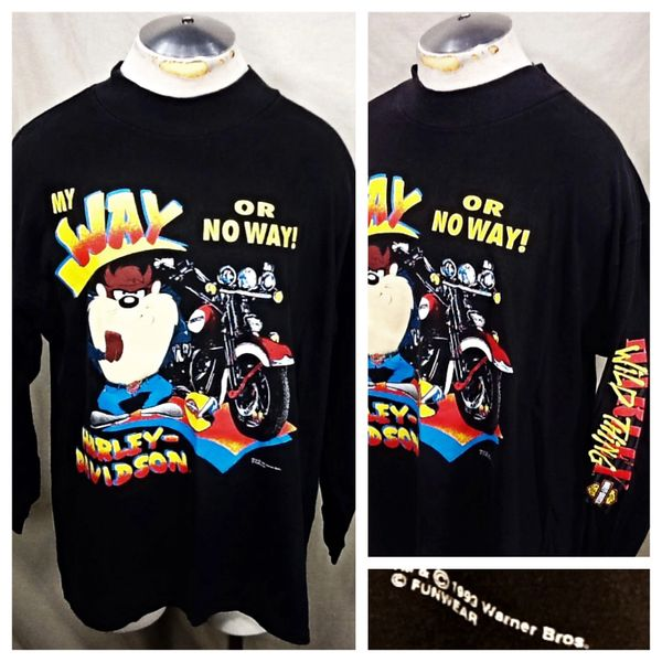 "Vintage 1993 Harley Davidson Motorcycles (XL) Retro ""Taz"" Looney Tunes Long Sleeve Graphic T-Shirt"