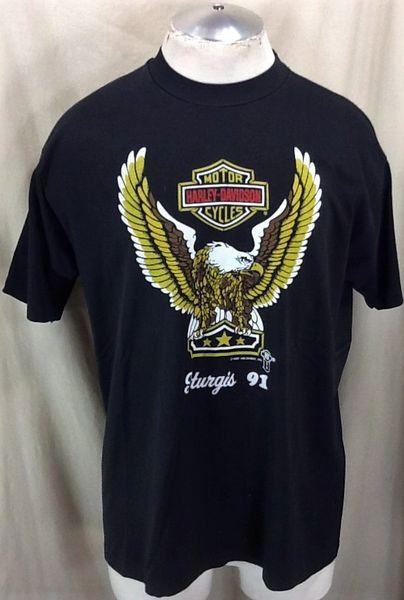 "Vintage 1991 Harley Davidson Motorcyles ""Sturgis"" (XL) Retro Black Hills Bike Rally Shirt"