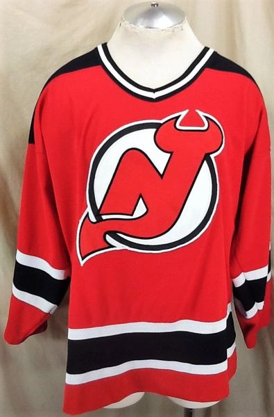 Vintage 90's Starter New Jersey Devils (Large) Retro NHL Hockey Stitched Red Jersey