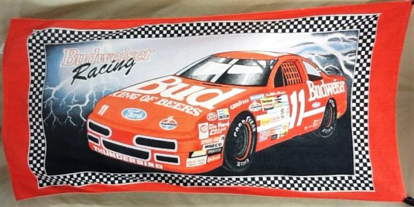 "Vintage Budweiser Racing ""Lightning"" NASCAR Graphic Beach Towel Wall Art"