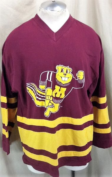 "Vintage 90's Minnesota Gophers ""Stripes"" (L/XL) Retro NCAA Long Sleeve Graphic T-Shirt"