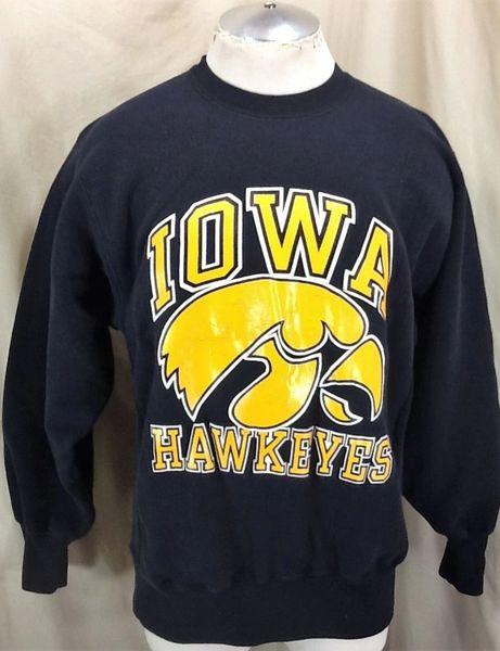 Vintage 90's Champion University of Iowa Hawkeyes (L/XL) Retro Reverse Weave NCAA Graphic Sweatshirt