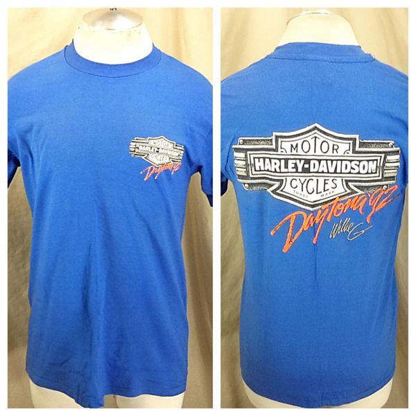 Vintage 1992 Harley Davidson Motorcycles (Large) Retro Daytona Beach Biker Rally Shirt