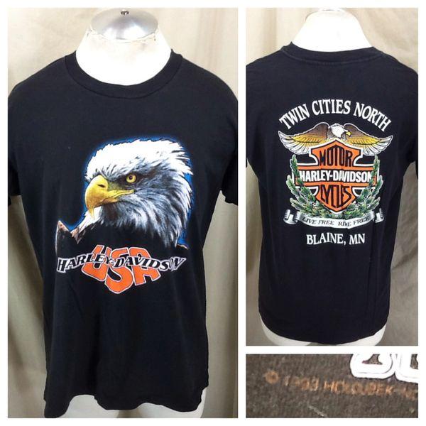 "Vintage 1993 Harley Davidson Motorcycles ""USA"" (Large) Retro Biker Graphic Shirt"