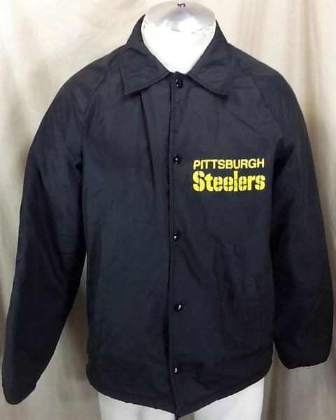 Vintage 80's Sir Jac Pittsburgh Steelers Football Club (Small) Retro NFL Fleece Lined Snap Up Jacket