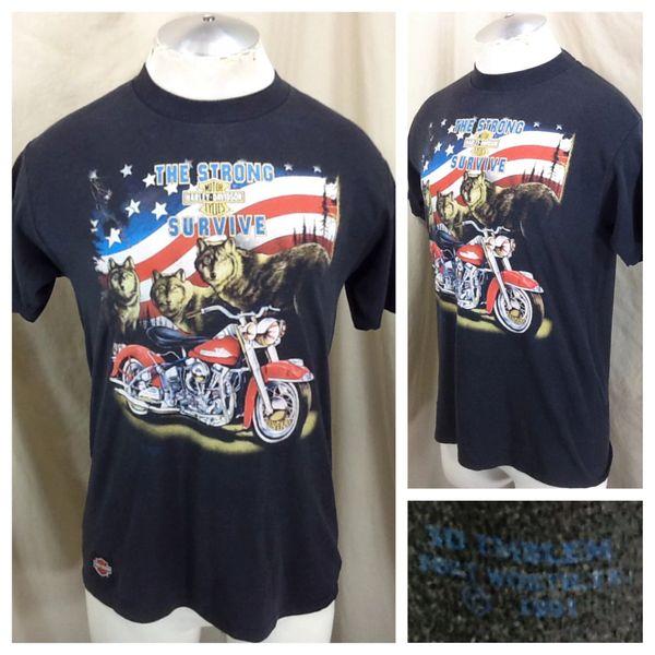 """Vintage 1991 3D Emblem Harley Davidson """"Survive"""" (Large) Retro Biker Graphic Shirt"""