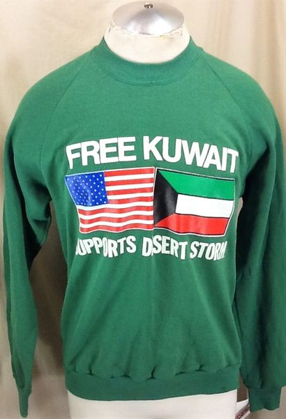 "New! Vintage 90's United States Armed Forces (Large) ""Free Kuwait"" Support Desert Storm Graphic Sweatshirt"