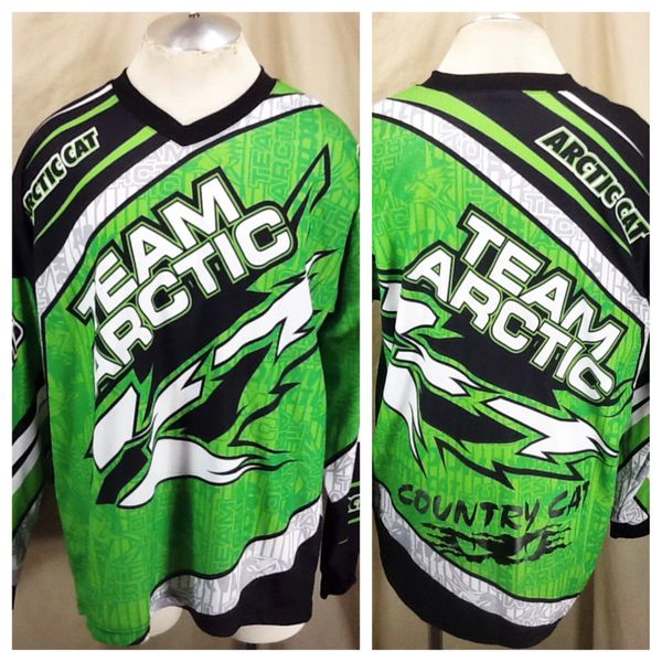 """Vintage 90's Arctic Cat """"Team Arctic"""" (Large) Arctic Wear Long Sleeve Snowmobiling Graphic Jersey"""