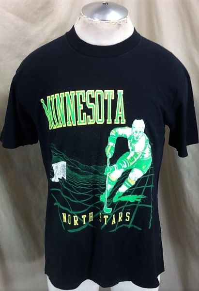 Vintage 90's Minnesota North Stars Hockey (Large) Retro NHL 3D Style Graphics Black T-Shirt
