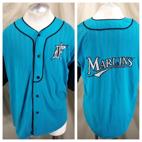 new concept d8b04 634be Vintage 90's Starter Florida Marlins MLB Baseball (Large) Button Up  Pinstripe Retro Stitched Jersey