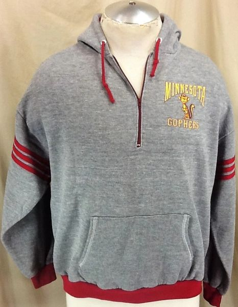 Vintage 80's Chalk Line Minnesota Golden Gophers (Large) NCAA Pullover 1/4 Zip Up Hooded Sweatshirt