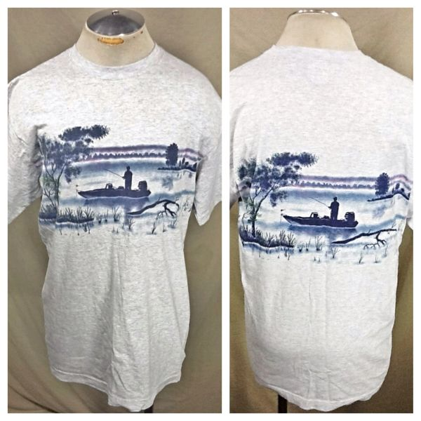 Vintage 90's Art Unlimited Fishing Scene (XL) Retro Outdoorsman Graphic T-Shirt