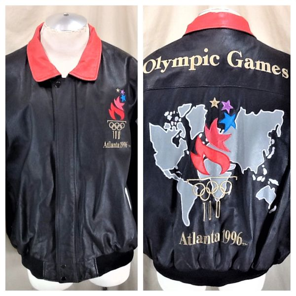 """Vintage 1996 Atlanta Olympic Games (2XL) Retro """"Olympic Torch"""" Embroidered Leather Jacket"""