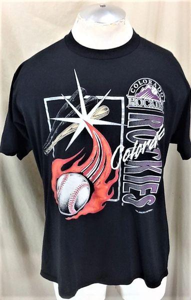 Vintage 1992 Colorado Rockies Baseball Club (XL) Retro MLB Graphic Black T-Shirt