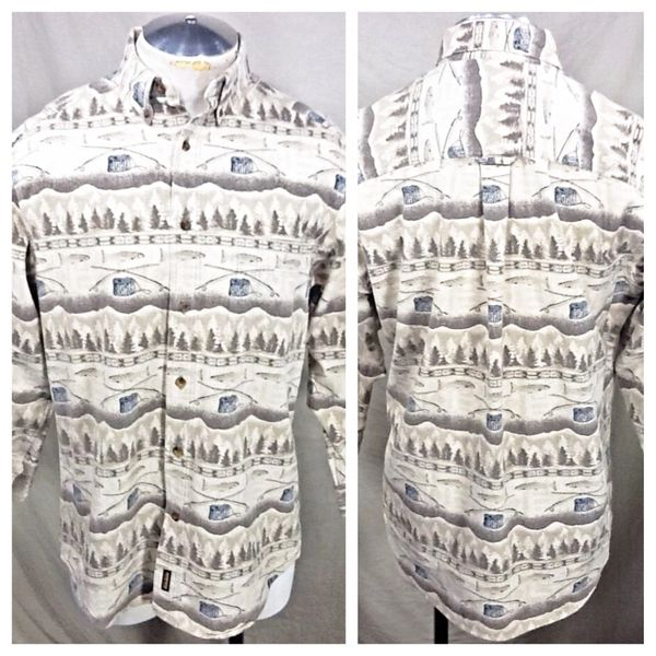 Vintage Woolrich Outdoorsman Fishing (Large) Retro All Over Graphic Button Up Shirt
