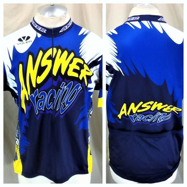 "Vintage Voler Cycling Team ""Answer Racing"" (L/XL) Retro All Over Graphic 1/2 Zip Up Bike Jersey"