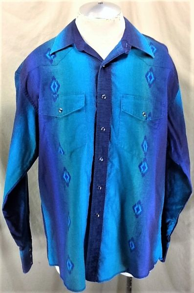 Vintage 90's Wrangler Western Wear (XL) Retro Country Long Sleeve Pearl Snap Up Cowboy Shirt