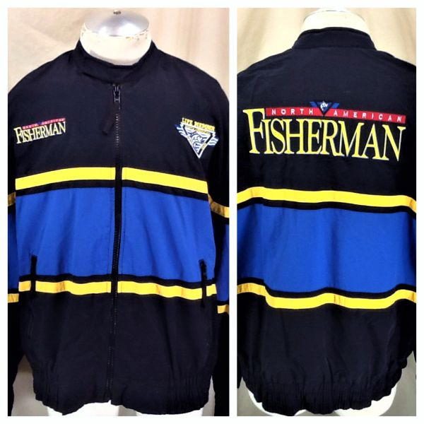 "Vintage North American Fisherman Club (XL) Retro ""Life Member"" Zip Up Windbreaker Jacket"