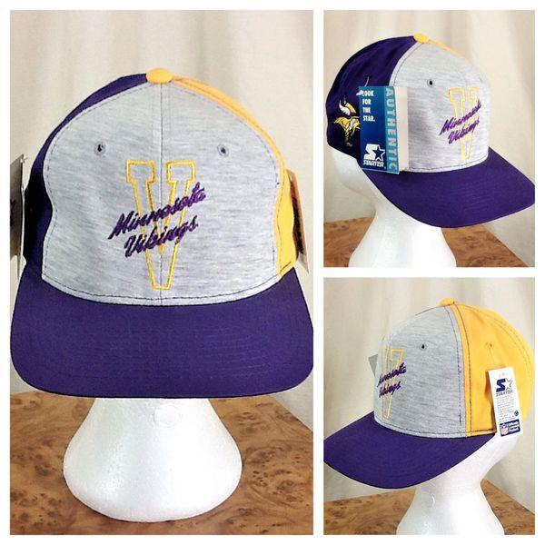 New! Vintage 90's Starter Minnesota Vikings NFL Football Retro Embroidered Snap Back Hat