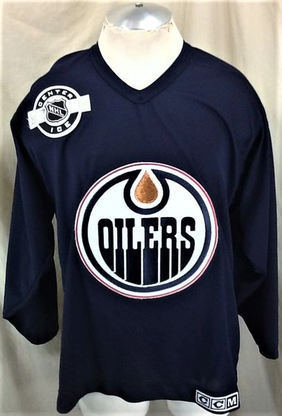 "Vintage CCM Edmonton Oilers Hockey Club (Med) Retro NHL ""Center Ice"" Knit Jersey"