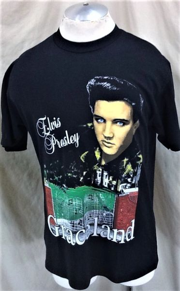 "Vintage 1992 Elvis Presley ""Graceland"" (Large) Retro Musical Icon Single Stitch T-Shirt Black"