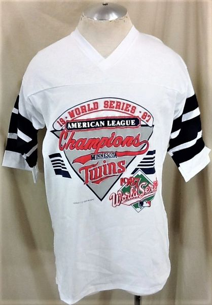 "Vintage 1987 Logo 7 Minnesota Twins ""League Champions"" (XL) Retro MLB Baseball Graphic T-Shirt"
