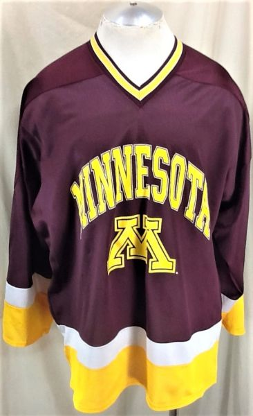 Vintage 90's Velva Sheen Minnesota Gophers Hockey (XL) Retro NCAA Graphic Polyester Jersey