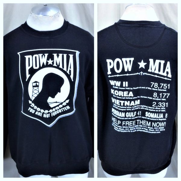 "Vintage Military POW MIA ""You Are Not Forgotten"" (Large) Armed Forces Graphic Crew Neck Sweatshirt"