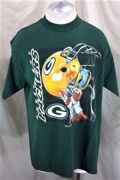Vintage 1996 Logo 7 Green Bay Packers Football (L/XL) Retro NFL Graphic Green T-Shirt