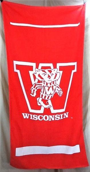 Vintage University of Wisconsin Badgers Retro NCAA Graphic Beach Towel Wall Art Red