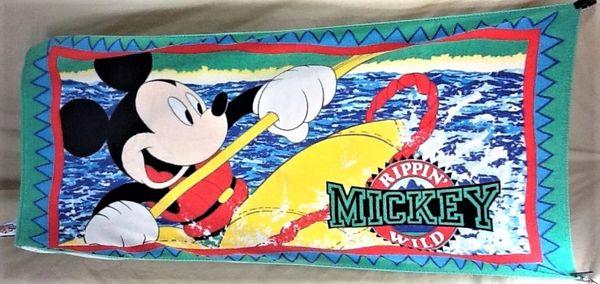 "Vintage 90's Disney's Mickey Mouse ""Rippin' Wild"" Retro Graphic Beach Towel Wall Art"