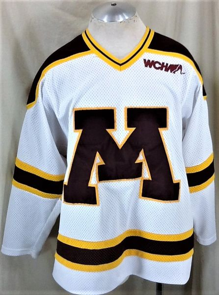 Vintage 80's Koronis Minnesota Gophers Hockey (Med) Retro WCHA Pullover Graphic Jersey White